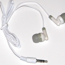Casti audio pentru copii cu dopuri din silicon, albe