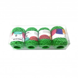 Set 4 bucati, Bobine String Art, fir din bumbac, 2mm x 10m, Verde