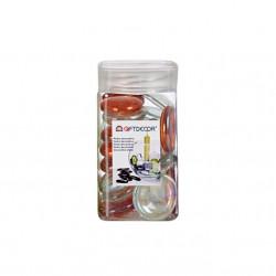 Sticla decorativa, discuri ovale, lucioase, 420 grame, Portocaliu