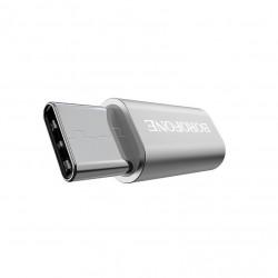 Adaptor Micro USB to USB tip C, Borofone BV4, Argintiu