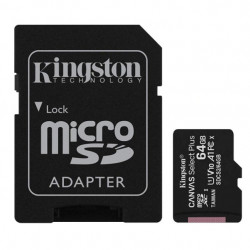 Card de memorie MicroSD Kingston, 64GB, 100MB/s, cu adaptor, negru