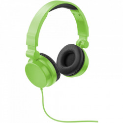 Casti audio cu fir, pliabile, Ultra Bass, galene rotative, Lime