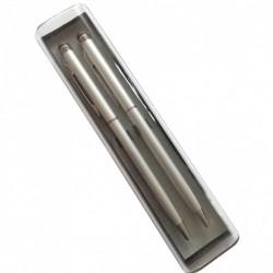 Set 2 buc, stylus de precizie 2 in 1 cu pix incorporat, in cutie din plastic, argintii