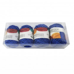 Set 4 bucati, Bobine String Art, fir din bumbac, 2mm x 10m, Albastru