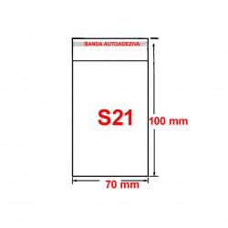 Set plic ambalaj transparent, S21 - 100 x 70 mm, cu banda autoadeziva, 100 buc/set