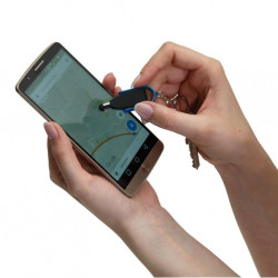 Stylus cu burete de curatare pentru touch screen, breloc, alb cu negru