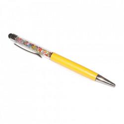 Stylus pen cu pix si cristale colorate, touch pen de culoare galbena