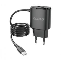Incarcator de perete Dudao, cablu USB tip C, 2 x USB, 5V 2.4A, negru