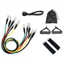 Set 5 benzi elastice pentru antrenament, rezistente diferite, sistem de fixare la usa