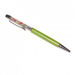Stylus pen cu pix si cristale colorate, touch pen de culoare verde