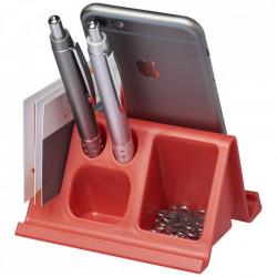 Suport de birou pentru tablete si telefoane cu orificii pentru papetarie, Rosu