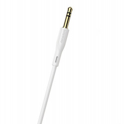 Cablu auxiliar, audio stereo, Jack 3.5 mm, 3 pini, Alb