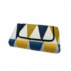 Patura pentru picnic tip geanta cu maner si scai, 175 x 135 cm, model in triunghiuri