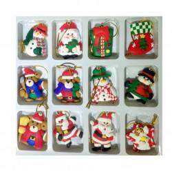 Set 12 ornamente de Craciun prevazute cu snur si magnet