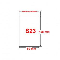 Set plic ambalaj transparent, S23 - 128 x 60 mm, cu banda autoadeziva, 100 buc/set