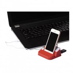 Suport de birou pentru telefon cu Hub USB incorporat, Rosu