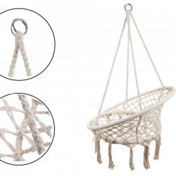 Hamac suspendat tip leagan Cuib de Barza, scaun rotund, cadru metalic, Bej