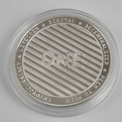 Moneda Suvenir Litecoin, diametru 40 mm, Argintiu