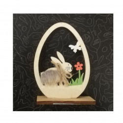 Ornament de Paste, Ou cu silueta iepure,  lemn si blana