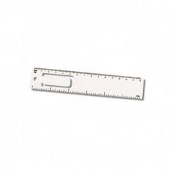 Set 3 bucati, semn de carte, plastic, design rigla, cm si inch, Alb