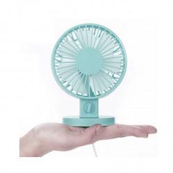 Ventilator cu doua palete, ultra silentios, 2 viteze, alimentare la USB, Turcoaz