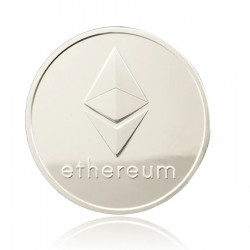 Moneda Suvenir Ethereum, diametru 40 mm, Argintiu