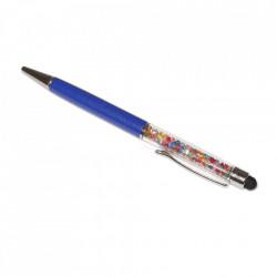 Stylus pen cu pix si cristale colorate, touch pen de culoare albastra