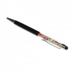 Stylus pen cu pix si cristale colorate, touch pen de culoare neagra