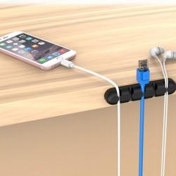 Suport cabluri autoadeziv pentru birou - 5 sloturi - Negru