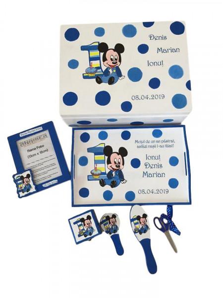 Set pentru tăierea moțului pictat Baby Mickey albastru