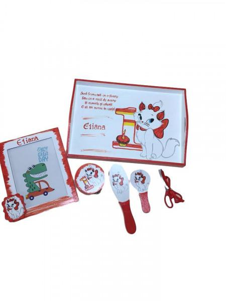 Set pentru tăierea moțului pictat Pisicuta Marie roșu