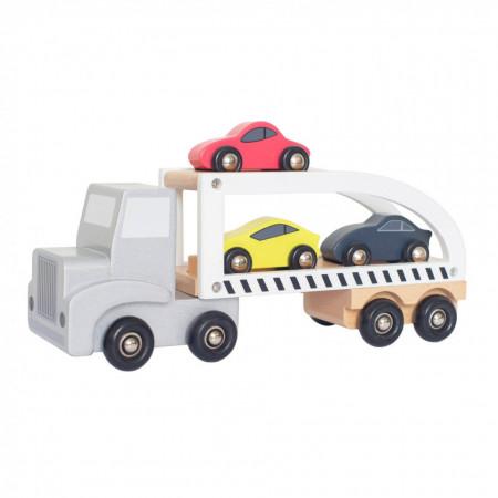 Camion din lemn cu mașinuțe