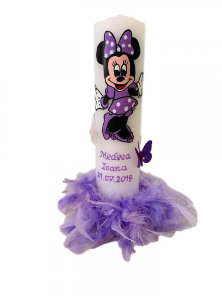 Lumânare botez Minnie Mouse mov