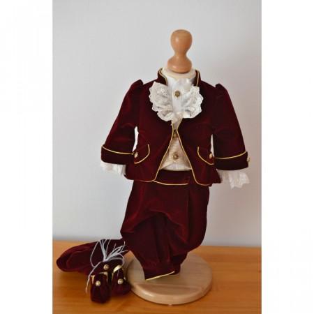 Costum Botez Micul Print Grena