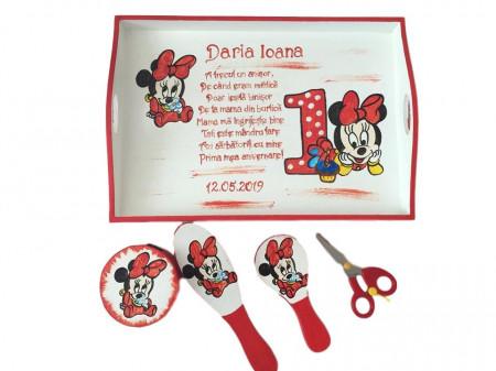 Set pentru tăierea moțului pictat Baby Minnie roșu