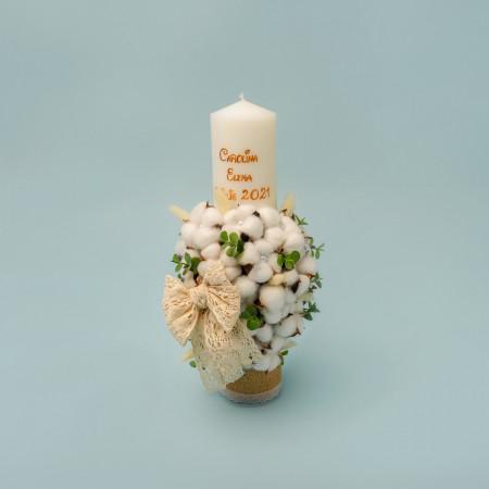 Lumanare botez fetite Flori de Bumbac