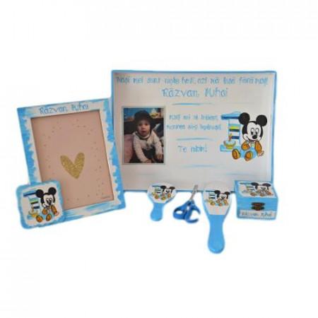 Set pentru tăierea moțului pictat cu Mickey Mouse +poza bebelușului