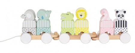 Trenulet din lemn Safari multicolor