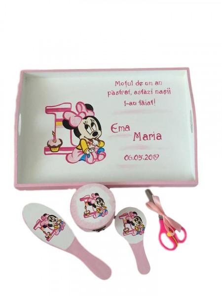 Set pentru tăierea moțului pictat Baby Minnie roz