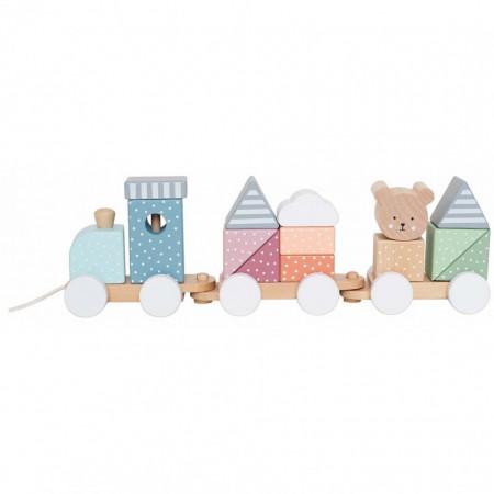 Trenulet din lemn Teddy multicolor