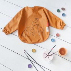 Bavețică cu mâneci lungi Dreamy Dots muștar- Done by Deer
