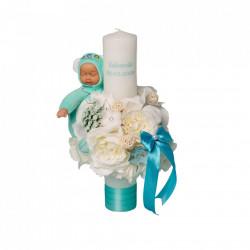 Lumânare botez cu flori și păpusă somnoroasă