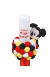 Lumânare botez Mickey Mouse cu gheme