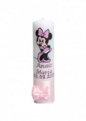 Lumânare botez pictată cu Minnie Mouse roz