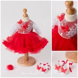 Rochita Botez Cu fluturasi Rosii 3D