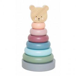 Jucărie de stivuire din lemn Teddy- JaBaDaBaDo