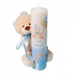 Lumânare botez Ursulet cu jucarie