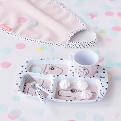 Set de masă pentru copii Happy dots roz