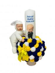 Lumânare botez Baby Boss cu gheme și păpușă somnoroasă