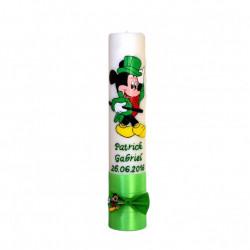 Lumânare botez pictată cu Mickey Mouse verde